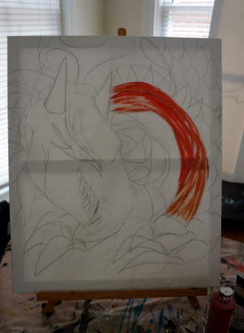 Creation of abstract painting Draco step 1