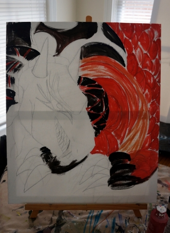 Creation of abstract painting Draco step 2