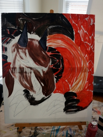 Creation of abstract painting Draco step 3
