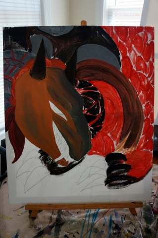 Creation of abstract painting Draco step 4