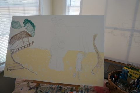 Creation of impressionistic painting Smith Mountain Lake step 2