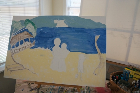 Creation of impressionistic painting Smith Mountain Lake step 3