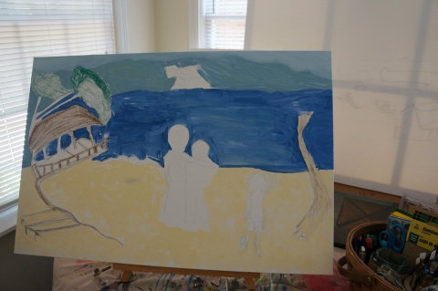 Creation of impressionistic painting Smith Mountain Lake step 4