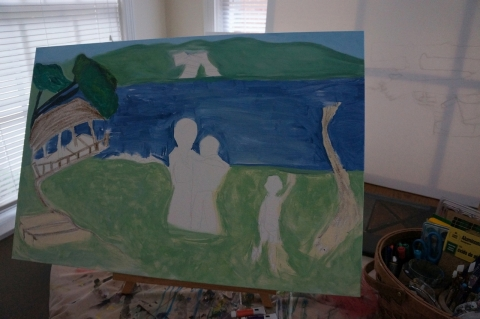 Creation of impressionistic painting Smith Mountain Lake step 5