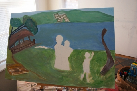 Creation of impressionistic painting Smith Mountain Lake step 6