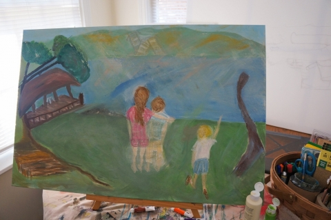 Creation of impressionistic painting Smith Mountain Lake step 7