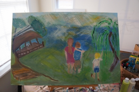 Creation of impressionistic painting Smith Mountain Lake step 8