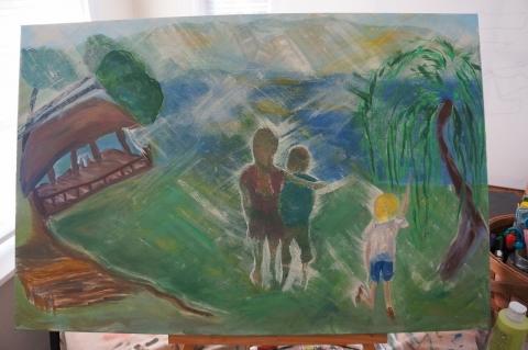 Creation of impressionistic painting Smith Mountain Lake step 9