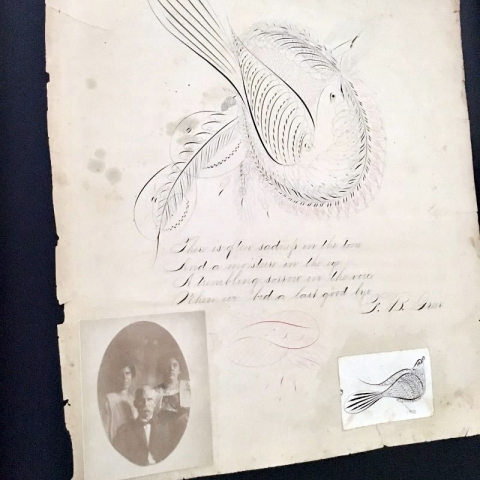 1800s Paper Calligraphy Art of Bird and Poem Framed View from Left
