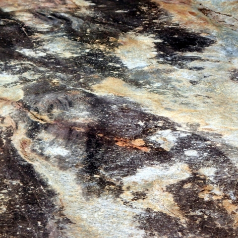Marble pattern of a waterfall's rocky belly