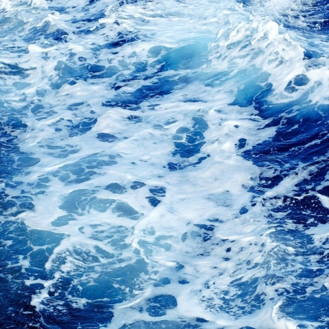 Blue and white of an ocean's waves