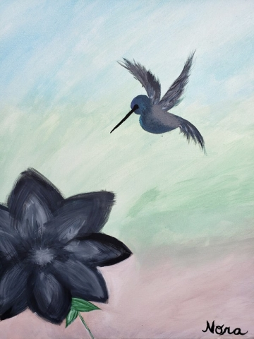 Hummingbird hovering over big black flower