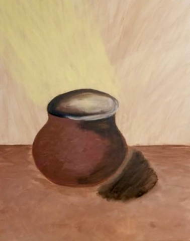 Clay pot with light beaming into it, muted earth tones throughout