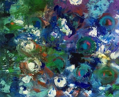 Abstract painting of white, blue and green allium flowers