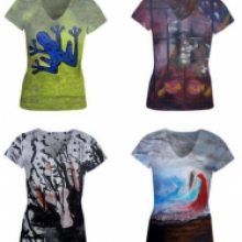 4 women's top with 4 different art designs created by Rachael Harbert