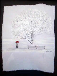 Abstract expressionism drawing of a girl walking through a snow-covered park holding a red umbrella