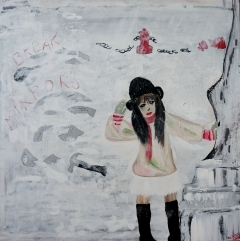 Abstract expressionism painting of a girl breaking mirrors in winter