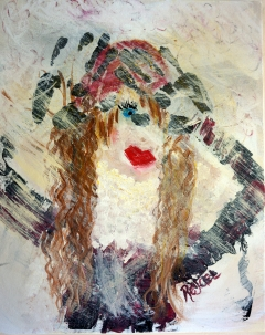 Abstract expressionism painting of a woman bundled in winter clothes as a cold winter pelts her