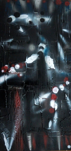 Abstract expressionism painting of flashlights emerging from many directions out of complete darkness