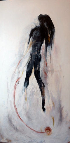 Abstract expressionism painting of a female figure emerging from and hovering over the ground