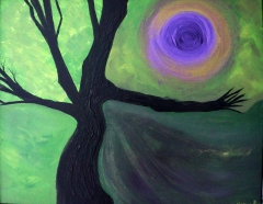 Abstract expressionism painting of a swirling green and purple sky as a large purple shadow is cast on the ground next to a large stark, black tree