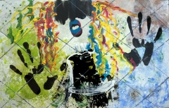 Abstract expressionism painting of a girl with black hair dancing behind a chain fence