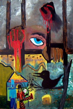Abstract expressionism painting of an imprisoned woman holding a bleeding heart