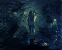 Abstract expressionism painting of a man in an alley with faint light