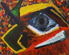 Abstract painting of a face of a parrot