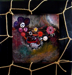 Abstract mixed media painting of jewels around a woman's neck