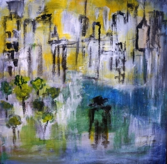 Abstract painting of a man standing on a grassy path outside of a charred city