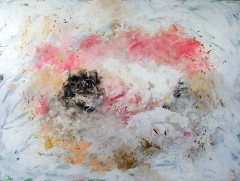 Abstract painting of red, brown and white grains of salt and sand