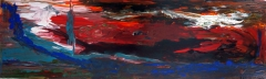 Abstract painting of a fire red sky