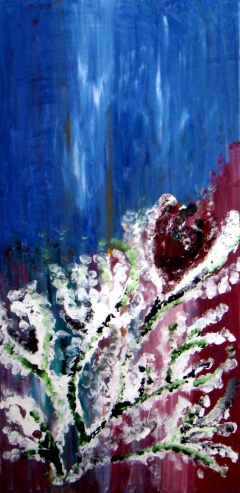 Abstract painting of a blooming cactus as a thunderstorm looms in the background