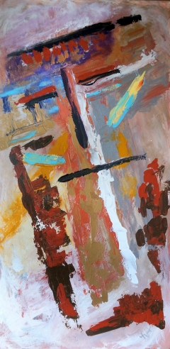 Abstract painting of a primitive face on a wooden totem pole