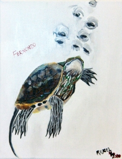 Impressionism painting of a small turtle under water
