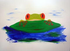 Impressionism painting of a frog peeping over the edge of a leaf