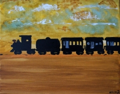 Impressionism painting of a black train toting four cars crossing a barren and sandy landscape
