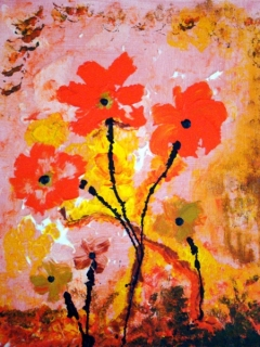Abstract painting of flowers with golden and orange petals and black stems