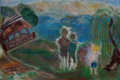 Impressionism painting of three children playing on a lake next to a mountain