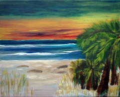Painting of an ocean sunset from the view of the shoreline