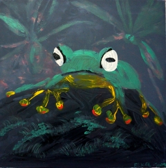Impressionism painting of a green tree frog sitting on a rock