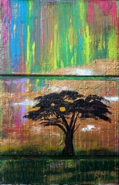 Impressionistic painting of a black acacia tree with a rainbow colored sky in the background