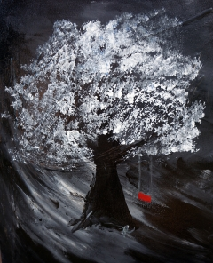 Impressionistic painting of a single white tree with a red swing against a black background