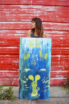 "Artist Rachael Harbert with painting ""22.2C"""
