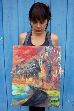 "Artist Rachael Harbert with painting ""Burning City"""