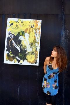 "Artist Rachael Harbert with painting ""Luminescent"""