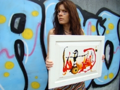 "Artist Rachael Harbert with painting ""Pyromaniac"""