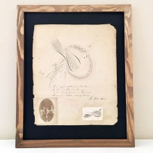 1800s Paper Calligraphy Art of Bird and Poem Framed
