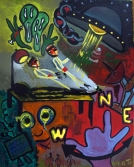 Pop art painting of a man being probed by aliens